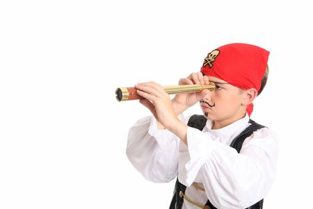canvass: A pirate using a spotting scope to search for ships or far off lands. Horizontal with space for text. Stock Photo
