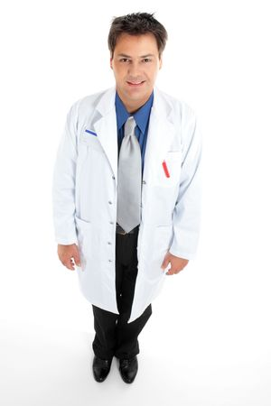 Doctor or scientist wearing a white coat standing on white.