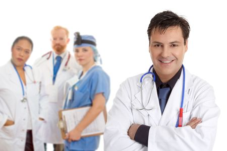 medical personnel: Friendly  caring team of medical doctors, surgeons, healthcare professionals. Stock Photo