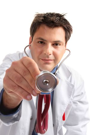 murmur: Doctor leaning over a patient with his stethoscope in hand to perform a checkup or medical examination.
