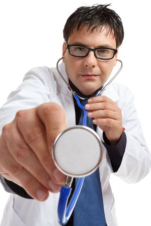 murmur: A doctor wearing glasses  in medical uniform using a stethocope.