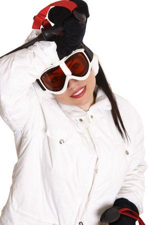 Female skier taking a rest break. photo