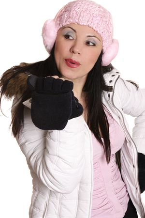 Beautiful female in winter fashion photo
