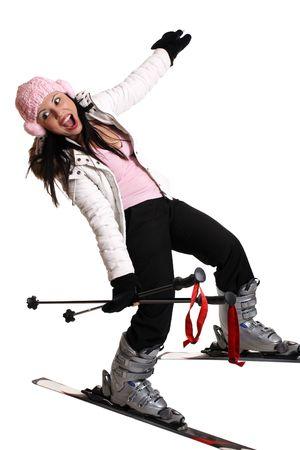 Female skier having fun on skis photo