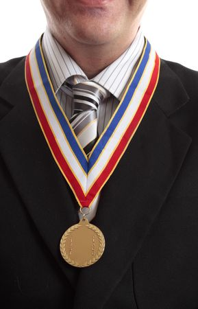 Successful businessman in recognition awarded gold medal
