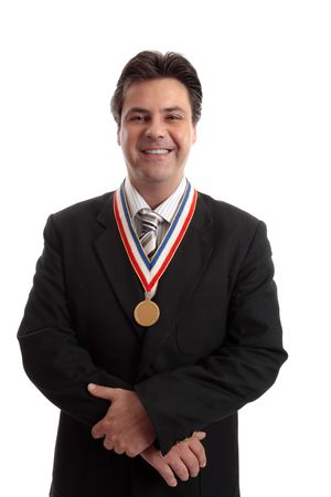 admire: Top selling salesman standing proudly with award