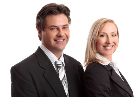 sucessful: Two sucessful business partners or colleagues smiling confidently. Stock Photo