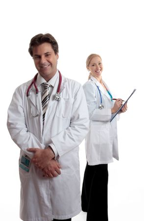 Happy caring medical personnel ready to assist your health needs. photo
