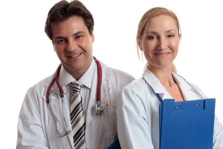 Medical Assistance.  Male and female medical personnel standing together smiling. Stock Photo - 2744296