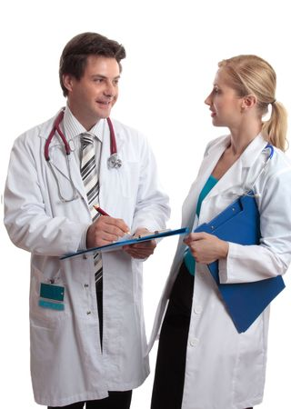 Doctors stand together in friendly discussion photo