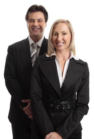 salespeople: Smiling businessman and businesswoman standing together. Stock Photo