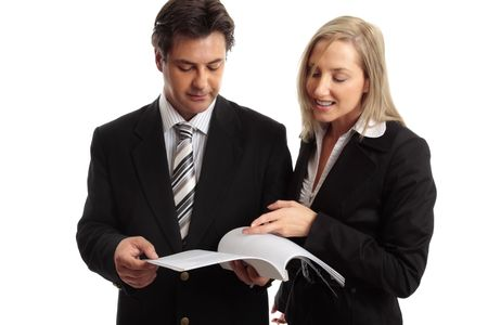 solicitor: Two work colleagues discuss a report, journal, tender, etc.
