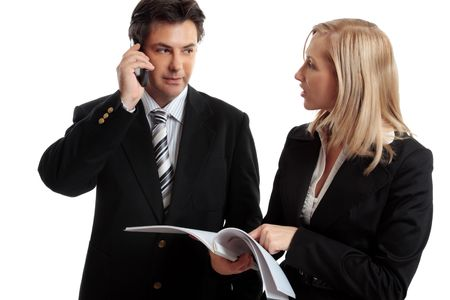 solicitor: Business people discuss or make enquires or decision regarding a report, contract or other document.