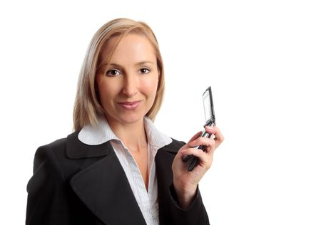 flip phone: a woman showing or holding a mobile flip phone in her hand.