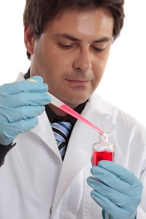 clinical research: Professional male at work.  Medical science, clinical research, pharmaceutical or other laboratory work Stock Photo