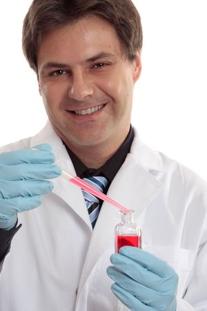 cytology: Clinical, pharmaceutical or medical researcher smiling cheerfully.