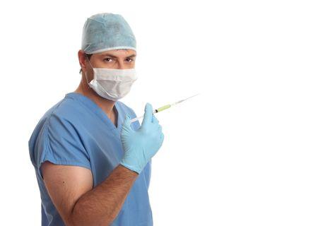 inyeccion intramuscular: M�dico cirujano con aguja de jeringa desechable. Los l�quidos pueden ser inyectados por la inyecci�n intrad�rmica, la inyecci�n subcut�nea, inyecci�n intramuscular, o Z-injection.Size pista de la jeringa debe basarse en la cantidad de l�quido entregado, el calibre y lengt  Foto de archivo