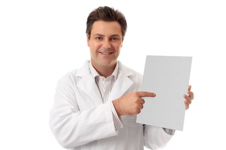 fact: A doctor, pharmacist or other healthcare worker holding and pointing to a brochure, document, sign or fact sheet. Replace with your brochure or add your text and layout.