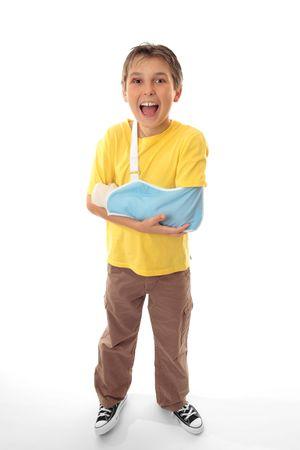 clumsy: Me siento mejor ahora! �Feliz muchacho despu�s de haber sido tratado de sus heridas por un profesional m�dico.