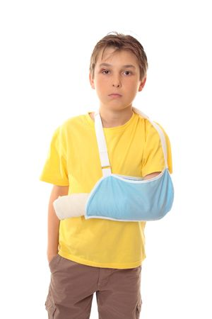 injure: Hurt boy with one arm in a sling and a scrape over right eye