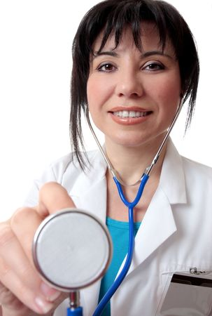 Female nurse or doctor giving a medical checkup Stock Photo - 3133624