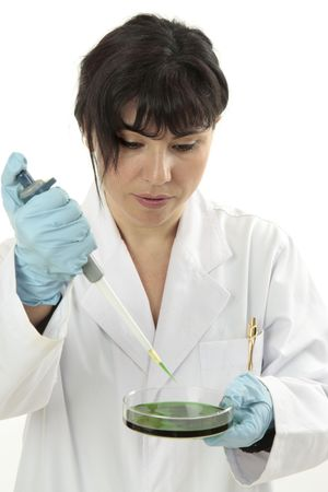 toxicology: Scientist or lab technician performing research in a alb.