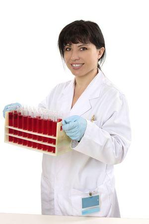 pathologist: Medical pathologist, scientist or chemist carrying a rack of test tubes.