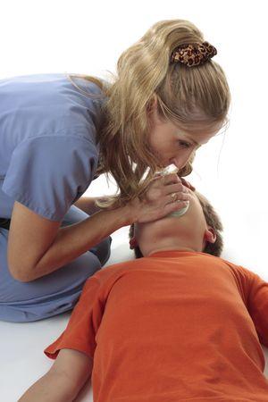 Nurse using a resuscitation mask on an child Stock Photo - 3281527
