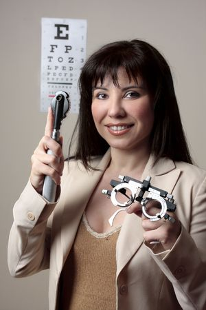 ophthalmic: Eye doctor with instruments for checking eyesight.