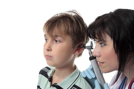 tympanic: A doctor or pediatrician checks a childs ears.