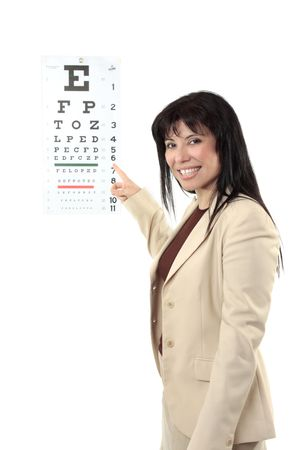Beautiful female optometrist at work pointing to an eye chart.   Photo Could be used for other purposes if you remove the chart. photo