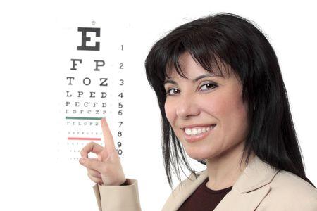 An optometrist points to an eye chart. photo