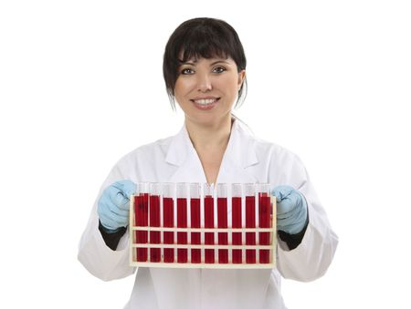 haematologists: Research  scientist holding a rack of test tube samples for examination, research or testing.