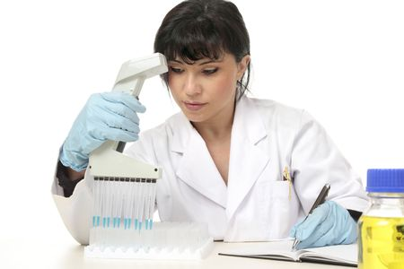 A female scientist documents laboratory test results Stock Photo - 3713193