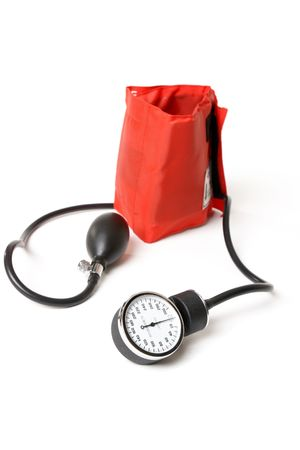 sphygmonanometer: A sphygmomanometer otherwise known as a bp cuff.  Focus to dial Stock Photo