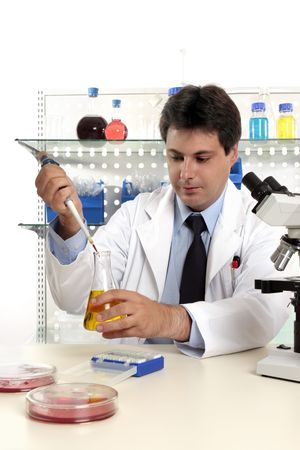 Laboratory scientist, chemist or pharmacist at work in a laboratory. photo