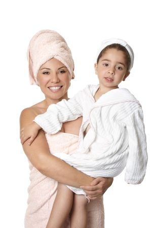 Happy mother holding daughter after bath Stock Photo - 4096143