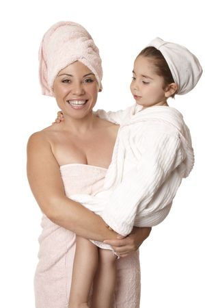 bathtime: Mother and daughter at bathtime body care Stock Photo