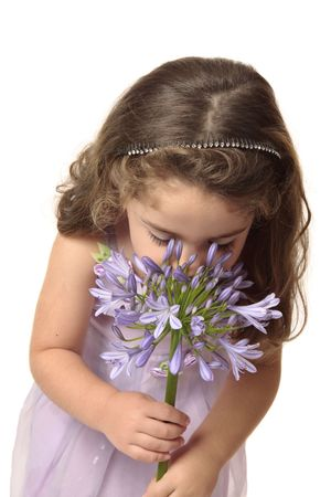 agape: A small girl wearing a mauve dress sniffing a large agapanthus flower head.  Agapanthus comes from the Greek words agape for love and anthos for flower.