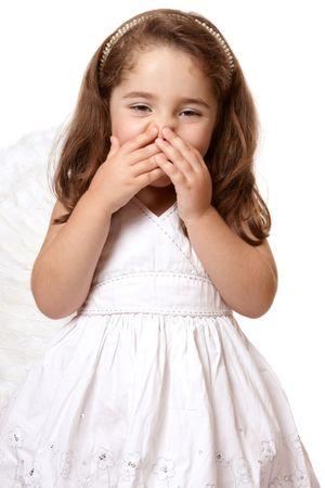 giggling: Adorable giggling angel girl