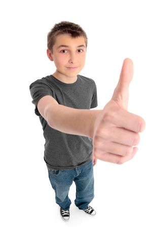 pre approval: A pre teen boy with hand outstretched showing a thumbs up hand sign