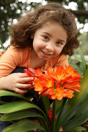 Little girl holding a bunch (umbels) of clivia miniata (bush lily) yellow orange flowers. photo