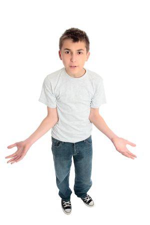 rgern: Ver�rgert, verwirrt, verwirrt oder fassungslos Jungen mit ausgestreckten H�nden