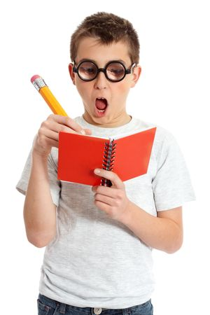 meant: A comical boy student in geeky glasses writing in a book.  Please note eyeglasses are meant to distort eyes.