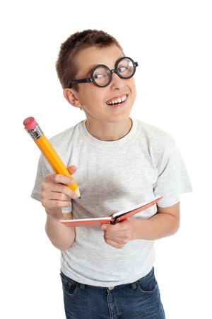 loony: Geeky student child wearing glasses.  He is smiling and holding a notebook and oversized pencil.    PLEASE NOTE: eyeglasses are fake and are intended to make eyes look distorted.