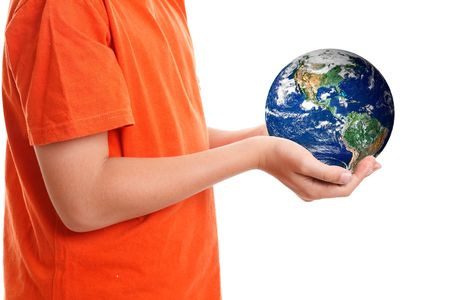 Two hands cupping gently the world, planet Earth.  Concept, caring for our planet, climate change, environmental conservation,global issues, travel, etc Stock Photo - 5997425