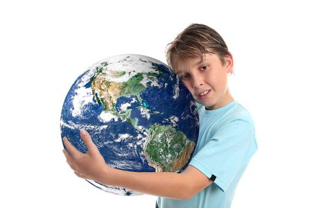 A boy embraces our beautiful planet earth.   Concept, save the planet, environmental conservation, climate change, geopolitical and other related global issues.