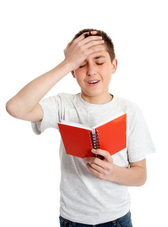 oversight: A boy or student with one hand to head.   Upset, mistake, error, goof, annoyance,