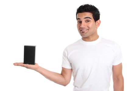 A man holds your merchandise retail product in the palm of his hand.   He is dressed in a white t-shirt and is smiling.  Add your design or place your own object in his hand.