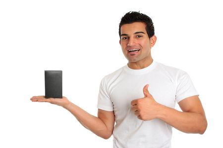 A very happy salesman or consumer holding a product and giving a thumbs up sign.   eg great, approval, success.